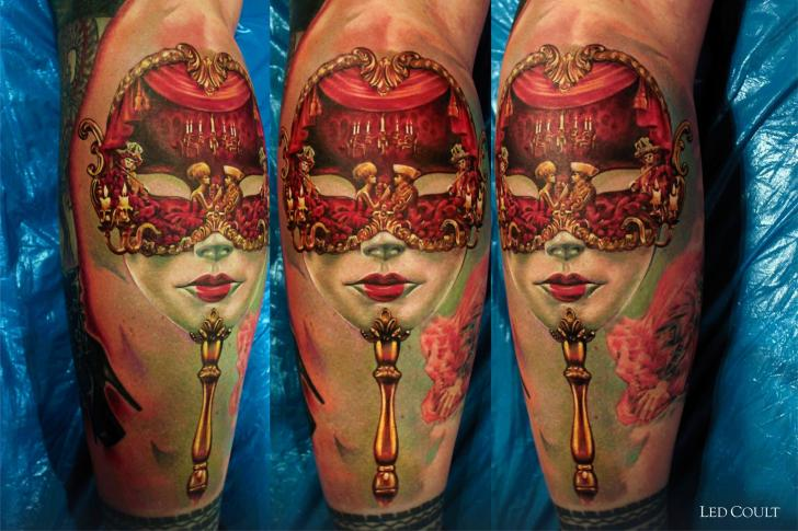 Arm Fantasy Mirror Mask Tattoo by Led Coult