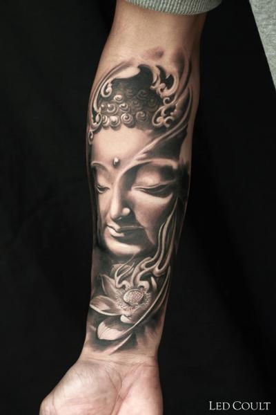 Arm Buddha Religious Tattoo by Led Coult