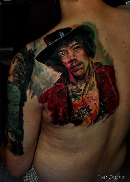 Portrait Realistic Back Tattoo by Led Coult