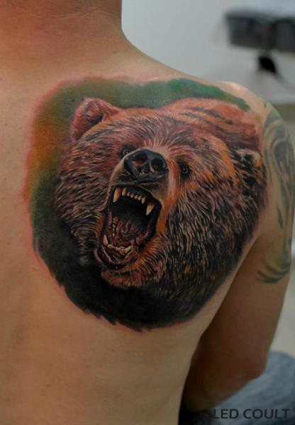 Shoulder Realistic Bear Tattoo by Led Coult
