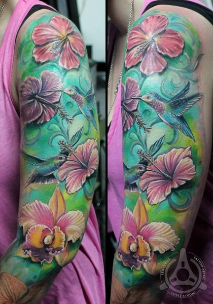 Realistic Flower Bird Sleeve Tattoo by Led Coult