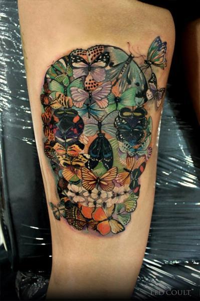 Fantasie Totenkopf Schmetterling Tattoo von Led Coult