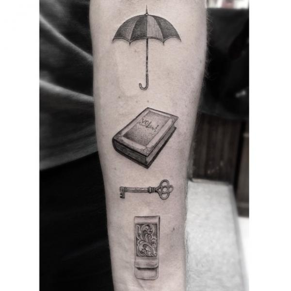 Arm Key Book Umbrella Tattoo by Dr Woo