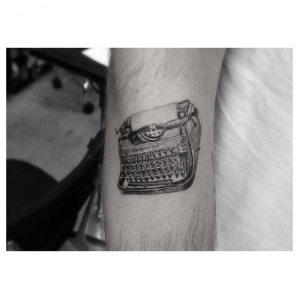 Arm Writing Machine Tattoo by Dr Woo