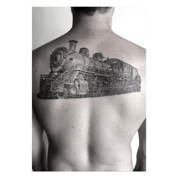 Realistic Back Train Tattoo by Dr Woo