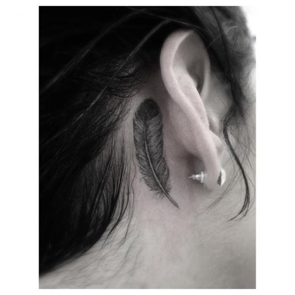 Feather Ear Tattoo by Dr Woo
