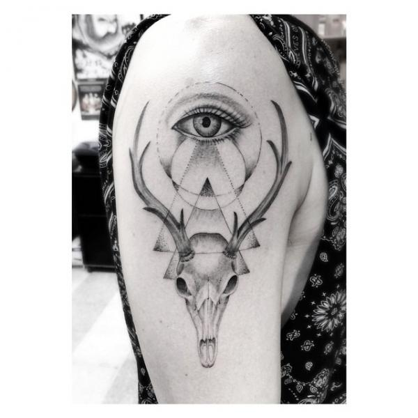 Shoulder Eye Dotwork Deer Abstract Tattoo by Dr Woo