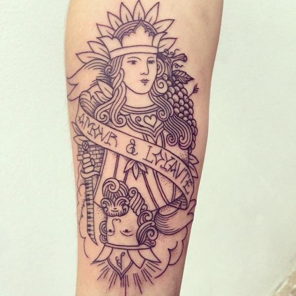 Tatuaggio Braccio Carta di Supakitch