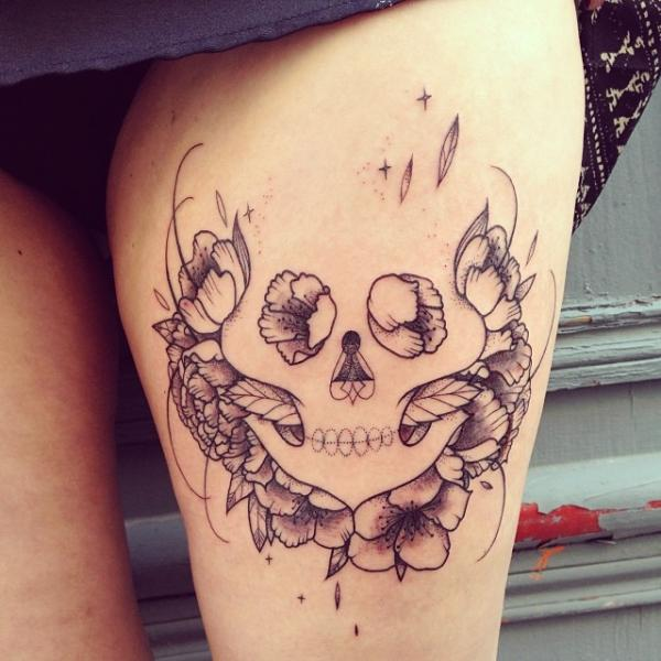 Fantasy Skull Thigh Tattoo by Supakitch