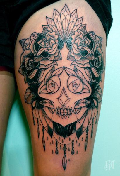 Flower Feather Skull Thigh Tattoo by Supakitch