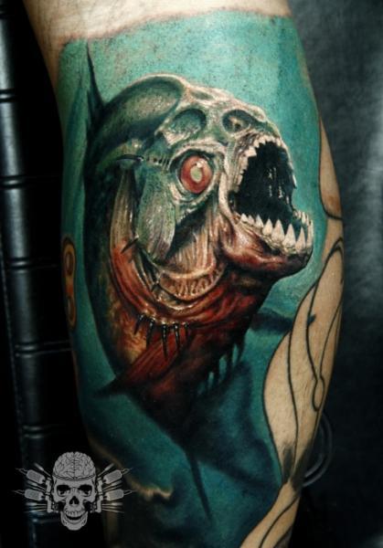 Realistic Calf Fish Tattoo by Tattooed Theory