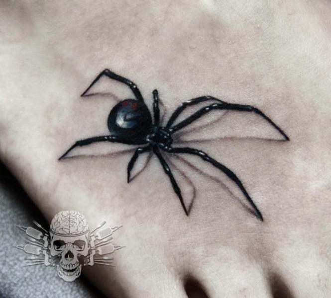 Foot Spider 3d Tattoo by Tattooed Theory