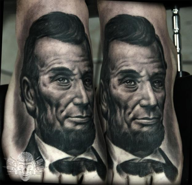 Portrait Realistic Foot Lincoln Tattoo by Tattooed Theory