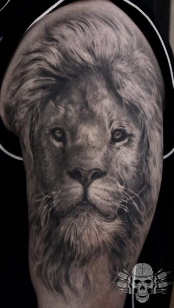 Shoulder Arm Realistic Lion Tattoo by Tattooed Theory