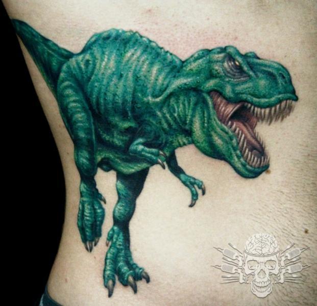 Side Dinosaur Tattoo by Tattooed Theory
