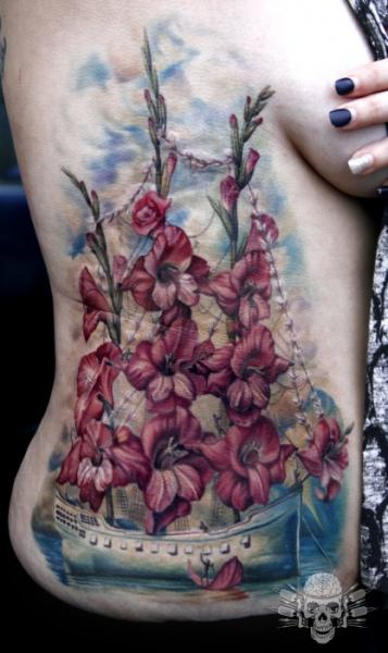 Flower Side Boat Tattoo by Tattooed Theory