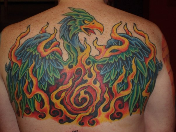 Fantasy Back Phoenix Tattoo by Lone Star Tattoo