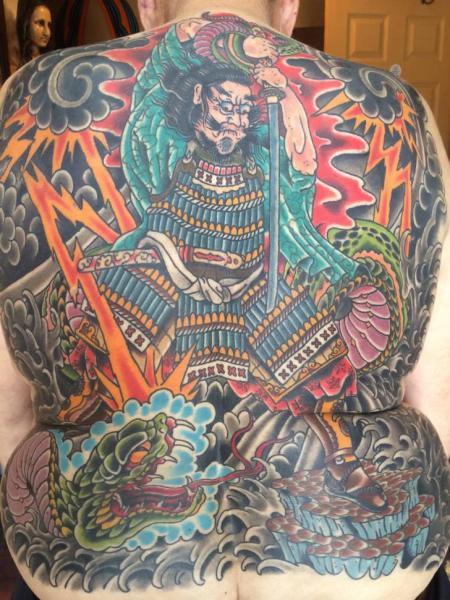 Snake Japanese Back Samurai Tattoo by Lone Star Tattoo