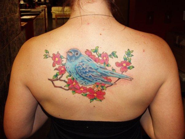 Realistic Flower Back Bird Tattoo by Lone Star Tattoo