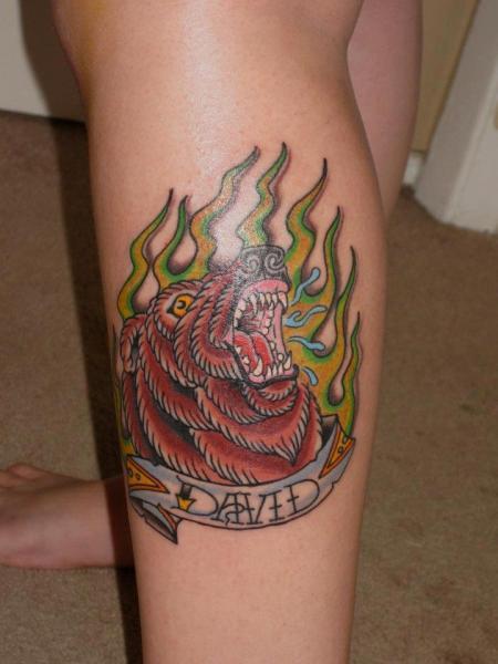 New School Calf Bear Tattoo by Lone Star Tattoo