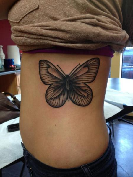 Side Butterfly Tattoo by Lone Star Tattoo