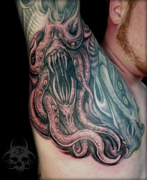 Arm Chest Monster Tattoo by Jeremiah Barba