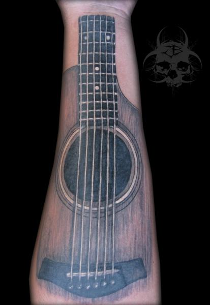 Arm Realistic Guitar Tattoo by Jeremiah Barba