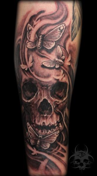 Arm Skull Moth Tattoo by Jeremiah Barba
