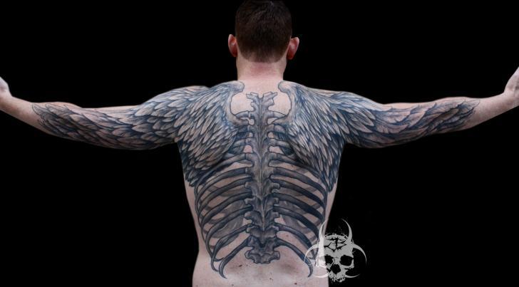 Back Wings Skeleton Tattoo by Jeremiah Barba
