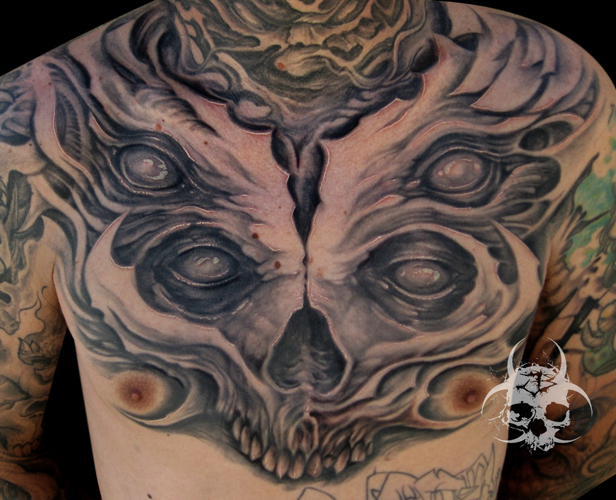 Shoulder Fantasy Chest Tattoo by Jeremiah Barba