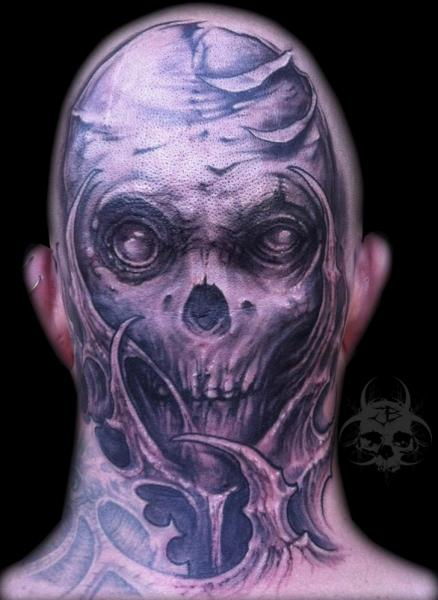 Skull Head Tattoo by Jeremiah Barba