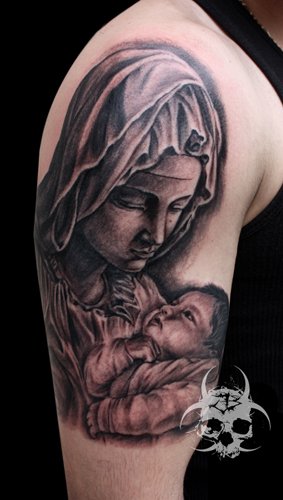 Shoulder Religious Tattoo by Jeremiah Barba