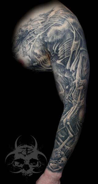 Fantasy Skeleton Sleeve Tattoo by Jeremiah Barba