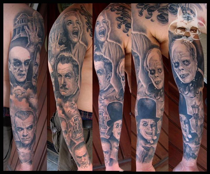 Fantasie Porträt Sleeve Tattoo von Jeremiah Barba