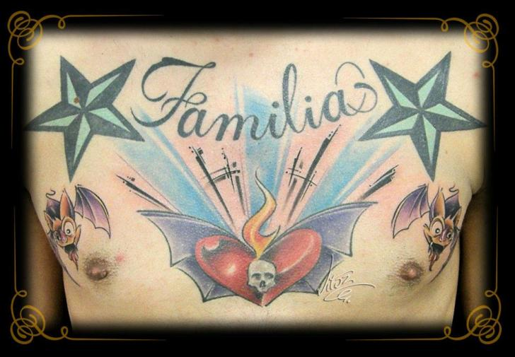 Chest Old School Lettering Star Tattoo by Golden Dragon Tattoo