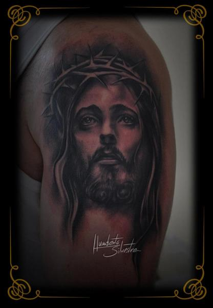 Shoulder Jesus Religious Tattoo by Golden Dragon Tattoo