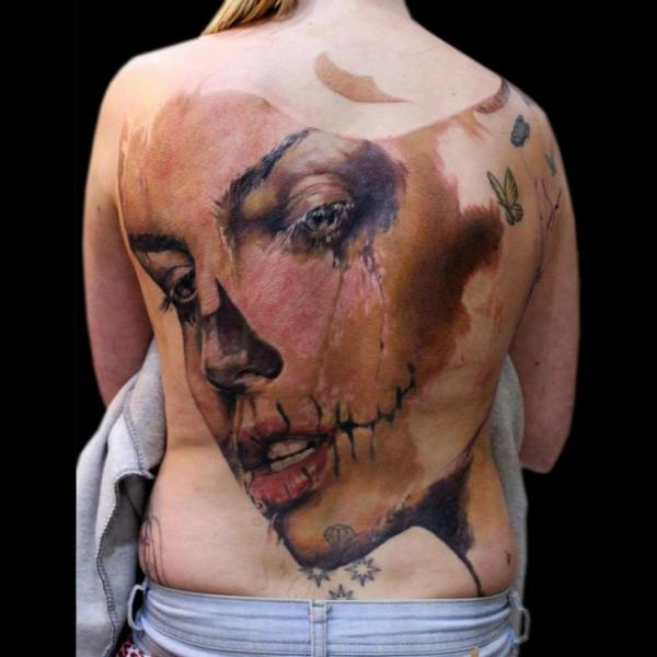 Women Back Tattoo by Jak Connolly