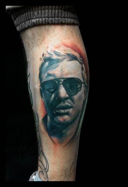 Portrait Realistic Calf Tattoo by Jak Connolly