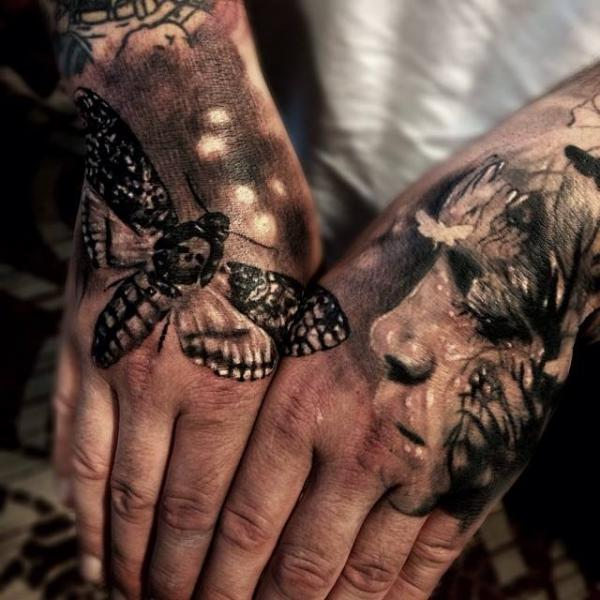 Hand Moth Tattoo by Jak Connolly