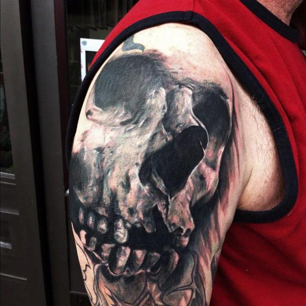Shoulder Skull Tattoo by Jak Connolly