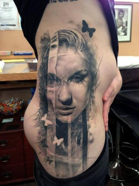 Side Women Butterfly Tattoo by Jak Connolly