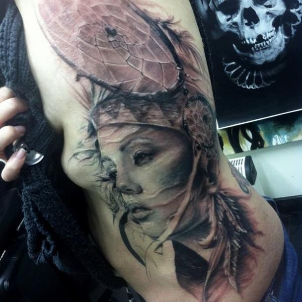 42e667a475b50 Side Women Dreamcatcher Tattoo by Jak Connolly