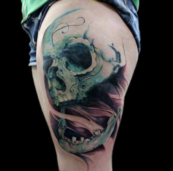 Skull Thigh Tattoo by Jak Connolly