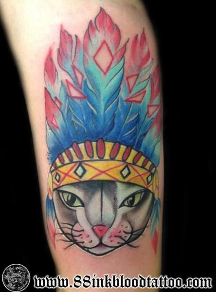 Arm Cat Indian Tattoo by 88Ink-Blood Tattoo Studio