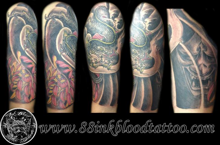 Shoulder Japanese Dragon Tattoo by 88Ink-Blood Tattoo Studio