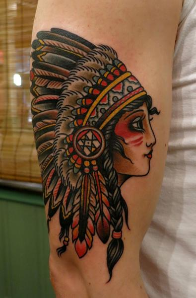 Arm Old School Indian Tattoo by Paul Anthony Dobleman