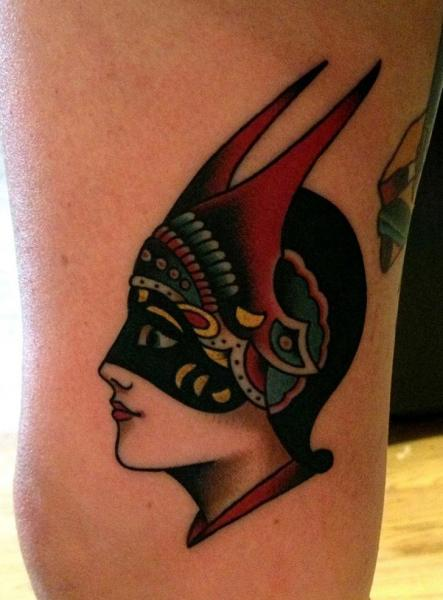 Arm Old School Mask Tattoo by Paul Anthony Dobleman
