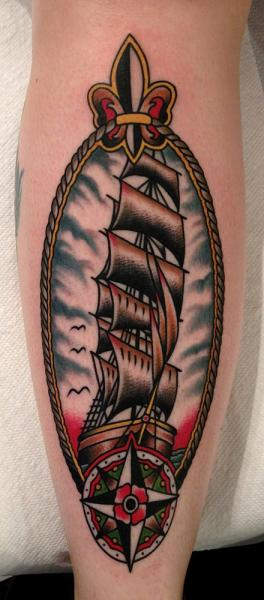 Arm Old School Galleon Tattoo by Paul Anthony Dobleman