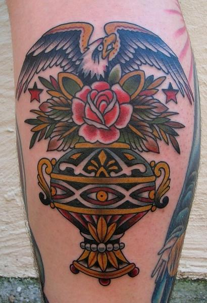 Calf Old School Eagle Cup Tattoo by Paul Anthony Dobleman