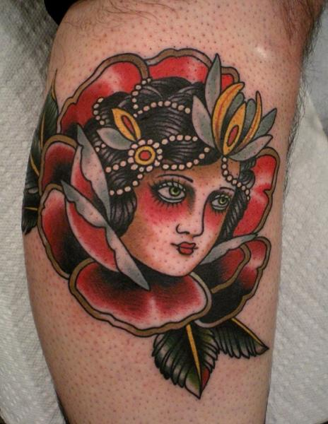 Old School Leg Tattoo by Paul Anthony Dobleman